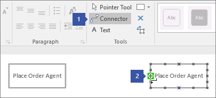 1 pointing to Connector tool, 2 pointing to cursor hovering over green highlighted connection point on lifeline shape