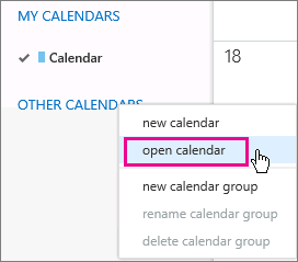 Outlook Web App open calendar menu