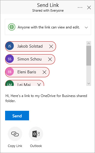 Office 365 Send Link dialog