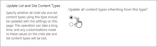 Selecting update all content types