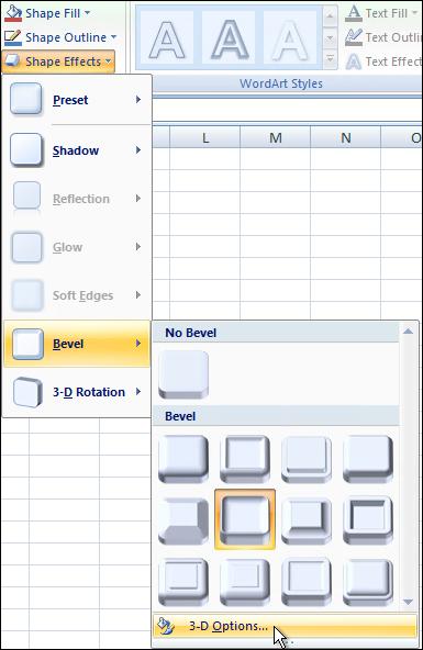 Bevel 3-D options