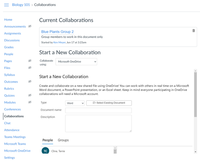 Add a collaboration or current collaboration