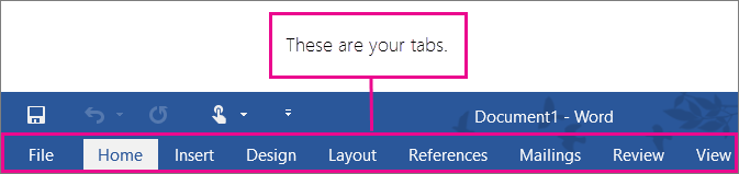 A picture of your tabs on the Word ribbon.