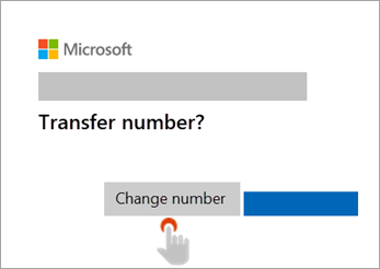Screenshot of hand pointing to Change number button