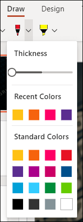 The customize pen menu in PowerPoint for the web