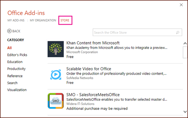 Office Add-ins dialog with Store button highlighted