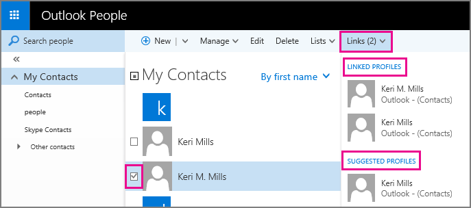 Screen shot of the Outlook People page. The screen shot shows two contacts with similar names. It also shows the Links drop-down menu on the toolbar, which contains a Linked Profiles section and a Suggested Profiles section.