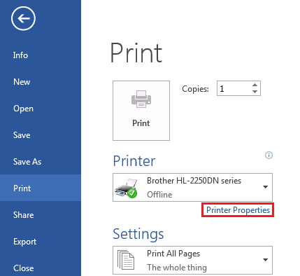 On the Print screen, click Printer Properties.
