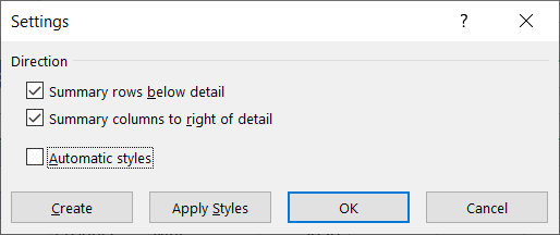 The Settings dialog box for outlines