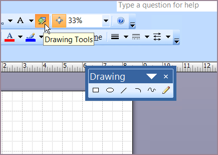Drawing tools floating toolbar