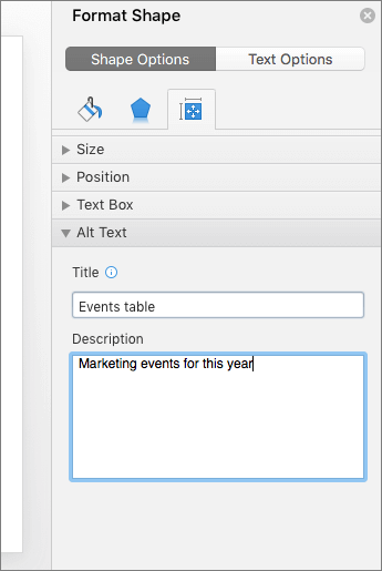 Screenshot of the Format Shape pane with the Alt Text boxes describing the selected table