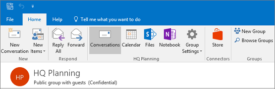 This is what the groups header looks like in Outlook 2016