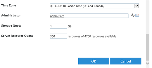 New site collection dialog with timezone and quotas section.