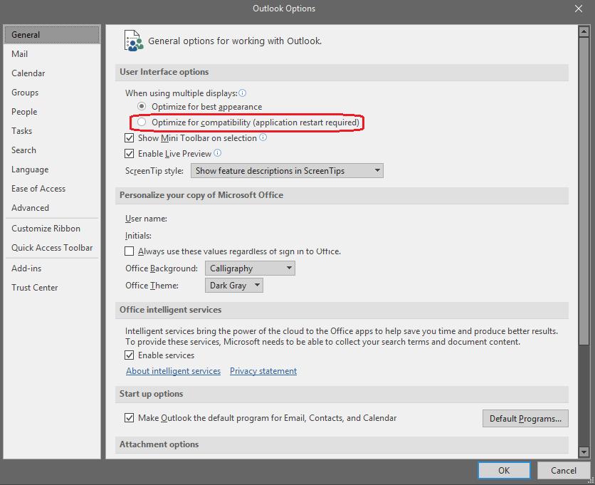 Outlook Multi-monitor optimization