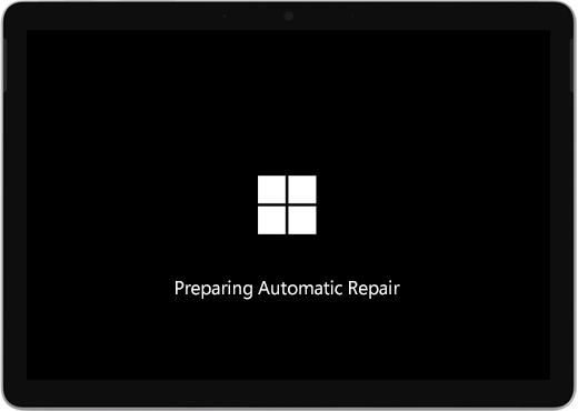 "A black screen with the Windows logo and text saying ""Preparing automatic repair."""