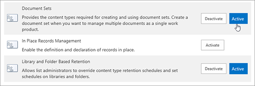 Samples of theSite Collection features that you can can make active for SharePoint
