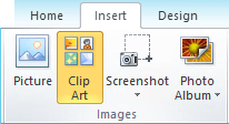 The ClipArt command on the Insert tab of the ribbon in PowerPoint 2010