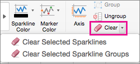 On the Sparkline Design tab, select Clear