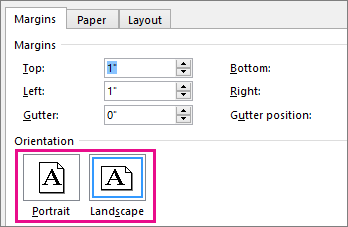 Protrait and Landscape are highlighted in the Page Setup dialog
