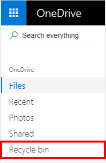 Recycle Bin selection in OneDrive