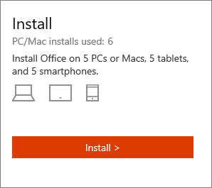 The Install section of the My Office Account page.