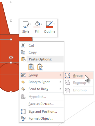 Select and group objects on a slide