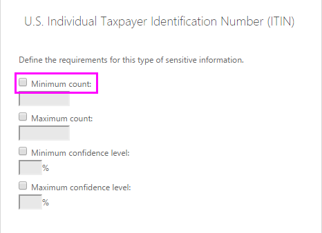 Minimum count option