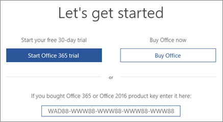"Shows the ""Let's get started"" screen that indicates an Office 365 trial is included with this device"