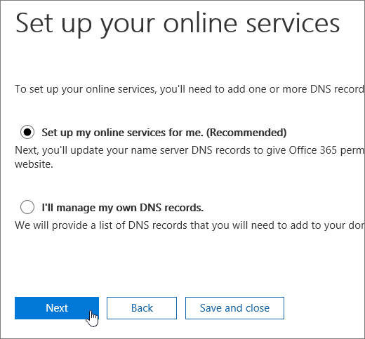"Select ""Set up my online services for me"" and click ""Next"""