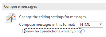 The option: Show text predictions while typing