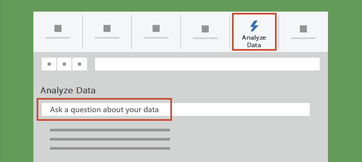 Shows Analyze Data in Excel