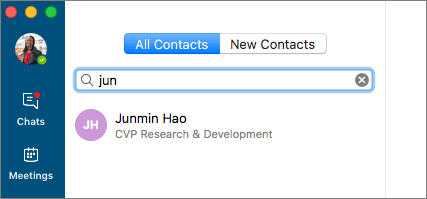 Screenshot of Contacts tab, with search text entered and search result shown.