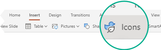 The Icons button on the Insert tab in PowerPoint for the web.