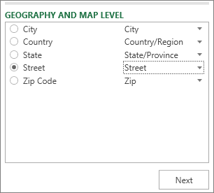 Geography and Map Level in the Task pane