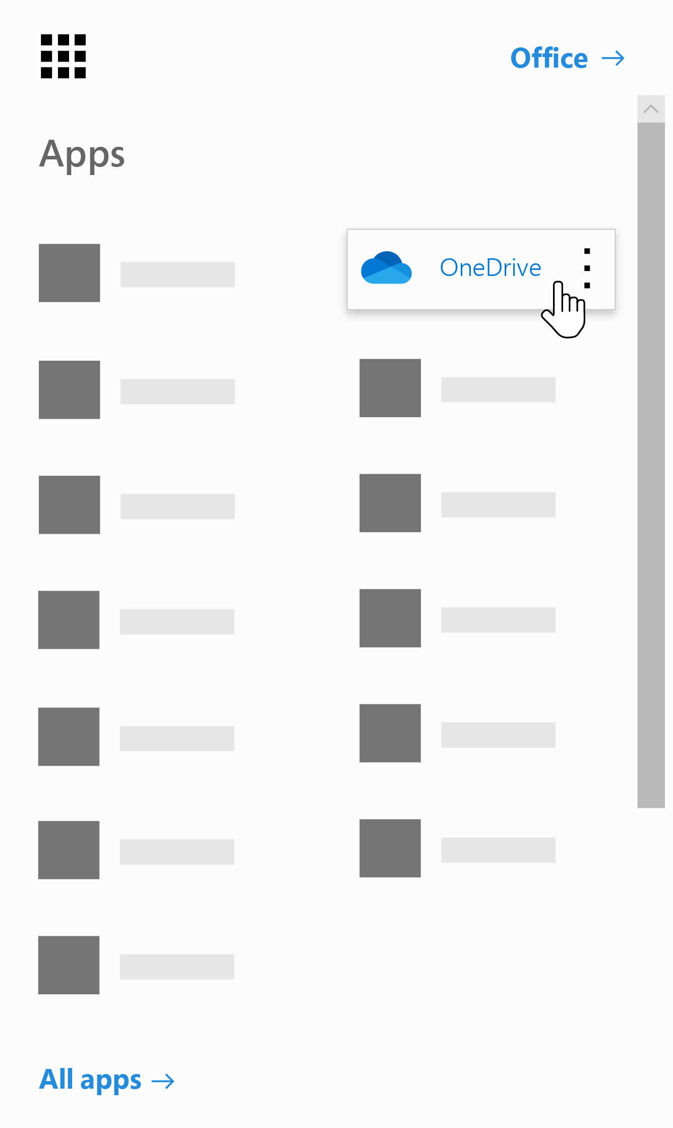 The Office 365 app launcher with the OneDrive app highlighted