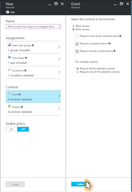 Creating a new policy in Azure to block access on unmanaged devices