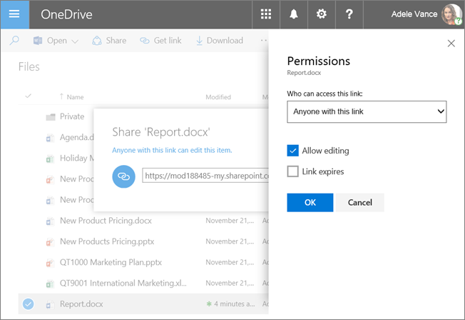 Screenshot of the Permissions pane while sharing a file in OneDrive for Business