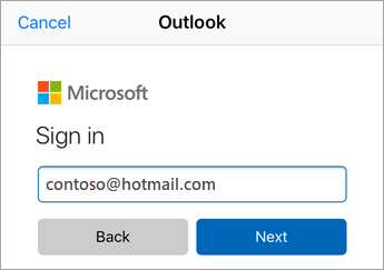 Enter Outlook.com email address