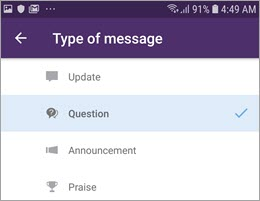 Select a post type on Android devices