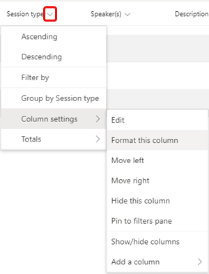 Format this column menu option