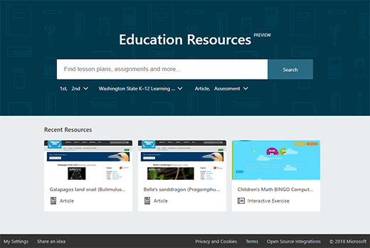 Education Resources app screen
