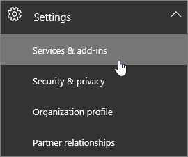 Expand Settings and then choose Services & add-ins