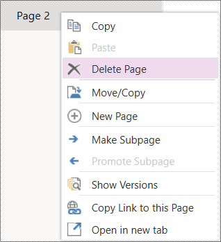 Delete page in OneNote for the web