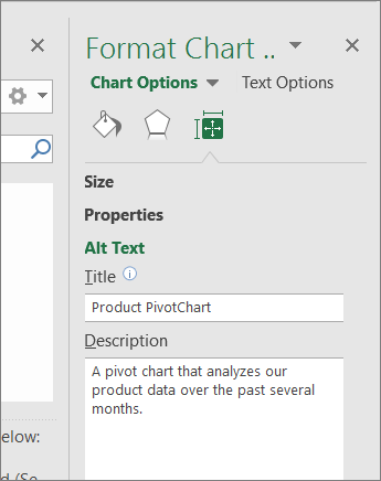 Screenshot of the Alt Text area of the Format Chart Area pane describing the selected PivotChart