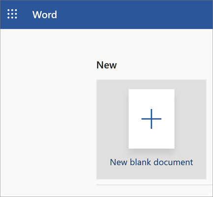 Word Online opening page with New Blank Doc