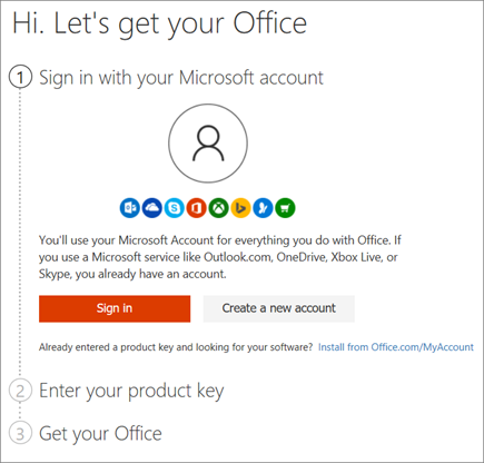 Shows the setup.office.com page where you redeem your product key