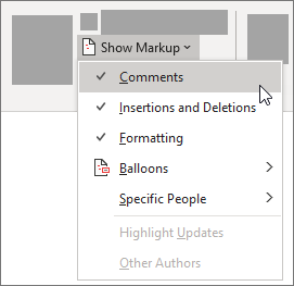 Show Markup list options