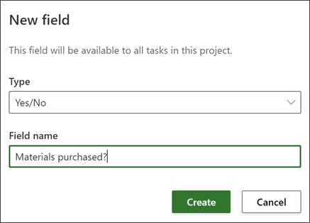 Screen shot from Project of New field dialog showing Field name filled out