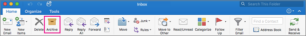 Outlook ribbon with Archive button highlighted