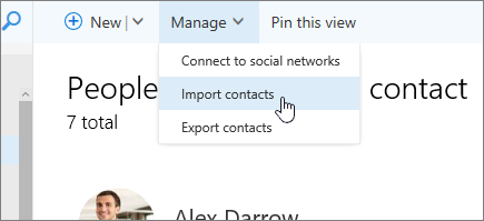 Screenshot of Manage command, with Import contacts selected